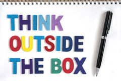 Think outside the box quotes business concept royalty free stock image