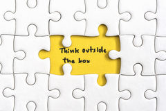 Think outside the box quotes business concept Stock Images