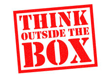 THINK OUTSIDE THE BOX. Red Rubber Stamp over a white background Royalty Free Stock Photography