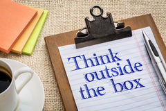 Think outside the box reminder Stock Photo