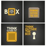 Think outside the box set poster. Abstract background Royalty Free Stock Image