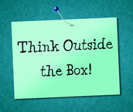 Think Outside Box Shows Originality Opinion And Ideas Royalty Free Stock Photos