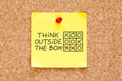 Think Outside The Box Sticky Note stock images