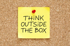 Think Outside The Box Sticky Note Royalty Free Stock Image