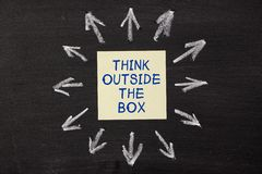 Think Outside the Box. Sticky notes pasted on a blackboard background with a lot chalk arrows Stock Photo