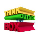 Think outside the box text. Isolated on a white background. 3d render stock photography
