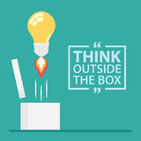 Think Outside The Box. Think outside the box with text. Vector illustration, Flat and minimal design royalty free illustration