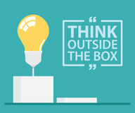 Think Outside The Box. Think outside the box with text. Vector illustration, Flat and minimal design Royalty Free Stock Photos
