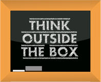 Think outside the box title blackboard Royalty Free Stock Images