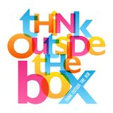 THINK OUTSIDE THE BOX typography poster. Overlapping semi-transparent letters in blue, orange, yellow and pink.  Vector Stock Photo