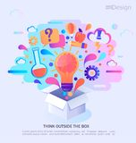 Think outside the box. Think outside the box, vector illustration. Infographic concept banner. Creative process and idea. Vector Illustration vector illustration