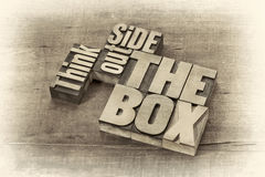 Think outside the box word abstract Stock Images