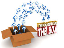 Think outside the box. Words with arrow flowing from inside the box to outside the box showing change of perceptions stock illustration