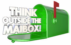 Think Outside the Mailbox Innovate Message Delivery 3d Illustrat. Ion Royalty Free Stock Images