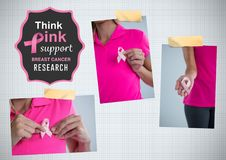 Think pink support text and Breast Cancer Awareness Photo Collage Stock Photos