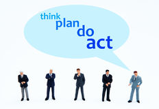 Think plan do act. Developing a marketing or business strategy stock photography