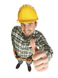 Think positive. Young caucasian classic handyman funny positive pose Stock Image