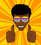 Think positive. Retro style illustration of a happy guy with colorful sunglasses Royalty Free Stock Photos