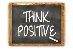 Think Positive Blackboard. A Colourful 3d Render Think Positive Concept Blackboard Illustration Royalty Free Stock Photos