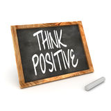 Think Positive Blackboard. A Colourful 3d Render Think Positive Concept Blackboard Illustration Royalty Free Stock Images