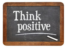 Think positive on blackboard Royalty Free Stock Images