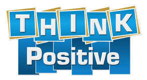 Think Positive Blue Squares Stripes. Think positive text written over blue background Stock Photo