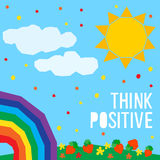Think positive card background. Abstract handmade think positive Royalty Free Stock Images