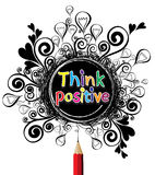 Think positive colourful alphabet design illustration Royalty Free Stock Photos
