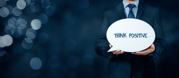 Think positive concept. Coach motivate to think positive concept. Businessman with bubble propagate positive thinking royalty free stock image