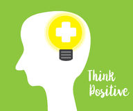 Think positive concept green background Stock Photos