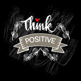 Think Positive. Hand lettering calligraphy Royalty Free Stock Images