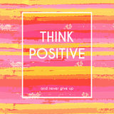Think positive motivation poster Stock Photography