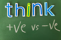 Think positive or negative. Colorful words on blackboard Royalty Free Stock Photos