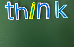Think positive or negative. Colorful words on blackboard Royalty Free Stock Image
