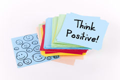 Think Positive. Note on adhesive stack Royalty Free Stock Images