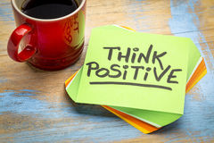 Think positive note with coffee Royalty Free Stock Photography