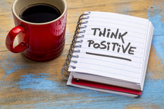 Think positive note with coffee Stock Photos