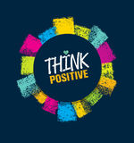 Think Positive. Rough Brush Stroke Design Element Concept Royalty Free Stock Images