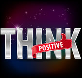 Think positive silver text with thumbs up sign, vector illustration Stock Photos