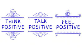 THINK POSITIVE, TALK POSITIVE, FEEL POSITIVE. Inspirational phrases isolated on white. Doodle vignettes. THINK POSITIVE, TALK POSITIVE, FEEL POSITIVE Royalty Free Stock Photo