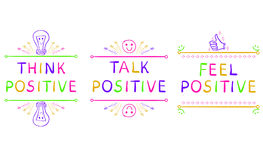 THINK POSITIVE, TALK POSITIVE, FEEL POSITIVE. Inspirational phrases isolated on white. Doodle vignettes. Stock Photo