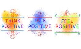 THINK POSITIVE, TALK POSITIVE, FEEL POSITIVE. Inspirational phrases on paint splash backdrop. Doodle vignettes. Yelolow. THINK POSITIVE, TALK POSITIVE, FEEL stock illustration