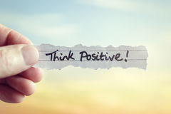 Think positive. Message concept for optimistic thinking and self belief stock photo
