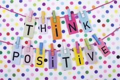 Think Positive. Positive thinking being optimist concept Stock Photo