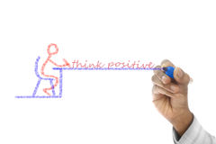 Think Positive written  on wipe board Stock Photos