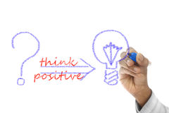 Think Positive written  on wipe board Royalty Free Stock Image