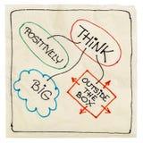Think positively, big, creative. Think positively, big and outside the box - motivational napkin doodle, isolated on white Royalty Free Stock Image