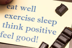 Think positively , exercise, eat well, sleep - concept feel good Royalty Free Stock Photo