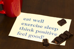 Think positively , exercise, eat well, sleep - concept feel good Stock Photography
