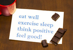 Think positively , exercise, eat well, sleep - concept feel good Stock Photo